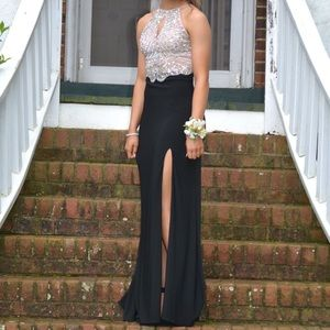 BLACK AND BEIGE PROM DRESS- WITH MESH & GEMS